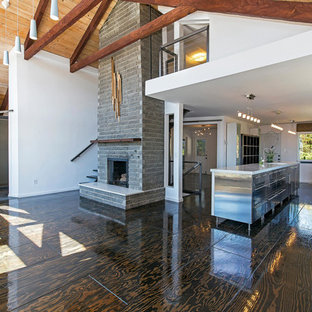 Inspiration for a modern open concept plywood floor and brown floor living room remodel in Other