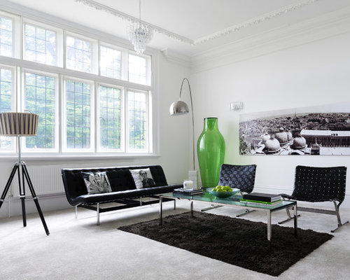 Design Ideas For A Contemporary Formal Living Room In Surrey With White  Walls And Carpet. Part 51