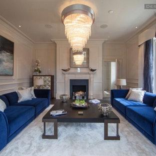 Immagine di un soggiorno moderno di medie dimensioni e aperto con sala formale, pareti bianche, moquette, camino classico, cornice del camino in pietra e nessuna TV