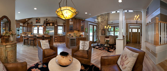 Craftsman Living Room by Brookstone Builders
