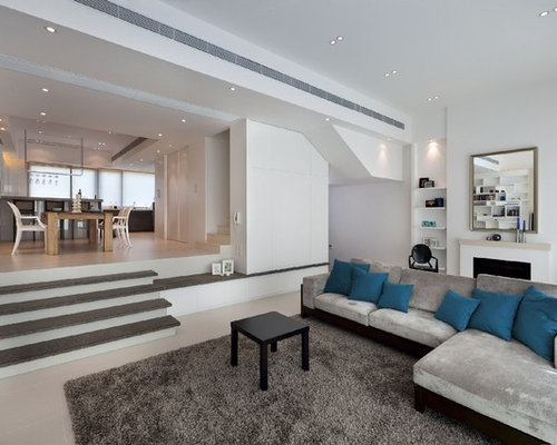 Trendy Living Room Photo In Hong Kong With White Walls