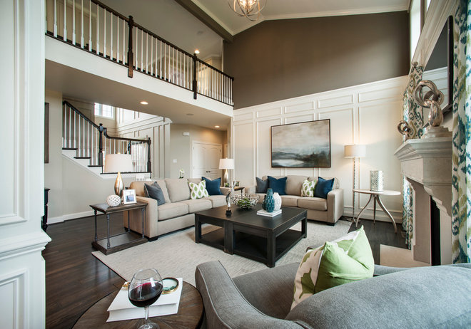 Transitional Living Room by W.B. Homes, Inc.