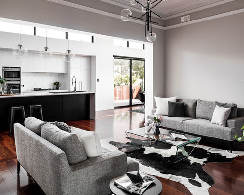 Contemporary Formal Enclosed Living Room In Perth With Grey Walls, Dark  Hardwood Floors And Brown