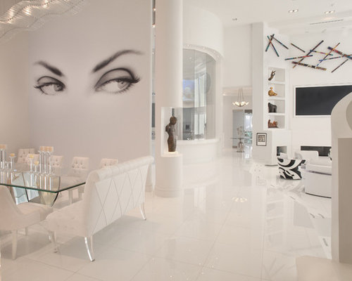 Trendy White Floor Living Room Photo In Miami With White Walls And A  Wall Mounted
