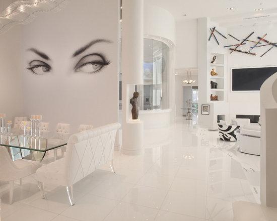 White Tiled Floor Living Room Design Ideas, Remodels U0026 Photos | Houzz