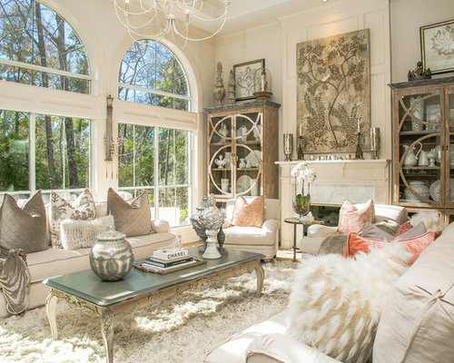 inspiration for a shabby chic style living room remodel in houston with white walls and - Shabby Chic Design Ideas