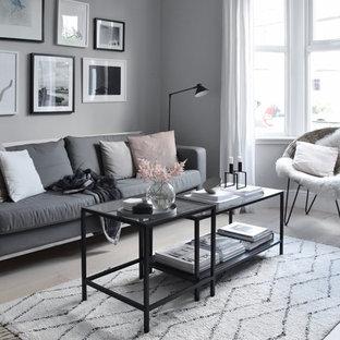 Idee per un piccolo soggiorno nordico chiuso con pareti grigie, parquet chiaro e pavimento bianco