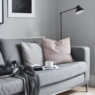 This is an example of a small scandinavian enclosed living room in Hampshire with grey walls, light hardwood flooring and white floors.