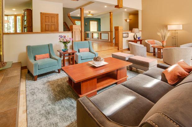 Craftsman Living Room by SKP Design