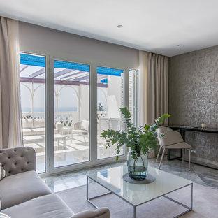 Ejemplo de salón contemporáneo con paredes grises y suelo gris