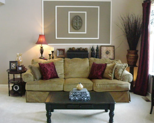 SaveEmail - Best Burgundy And Tan Living Room Design Ideas & Remodel Pictures