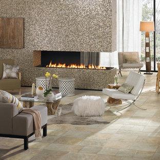 フェニックスの大きいモダンスタイルのおしゃれなLDK (フォーマル、マルチカラーの壁、磁器タイルの床、両方向型暖炉、タイルの暖炉まわり) の写真