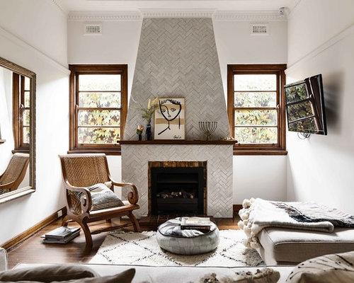 Mediterranean Enclosed Living Room In Sydney With White Walls, Dark  Hardwood Floors, A Standard Part 68