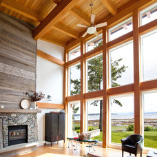 Contemporary Living Room by Island Timber Frame
