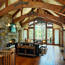 Rustic Living Room by Sitka Log Homes