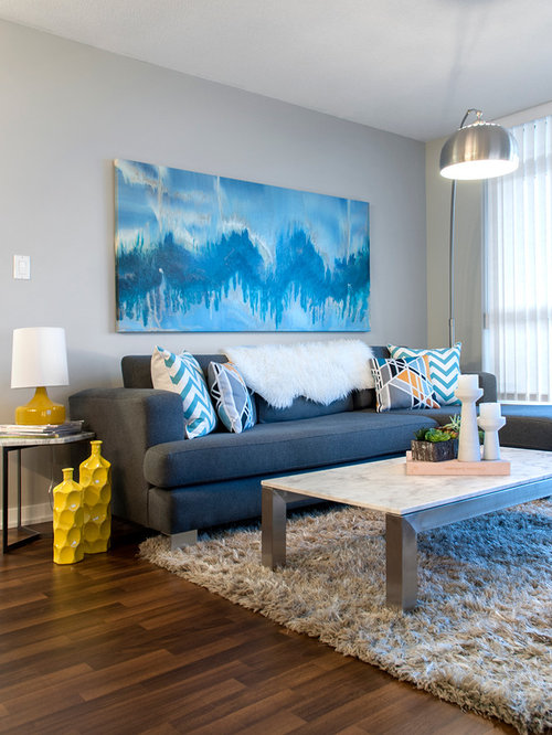 Design Ideas For A Modern Open Plan Living Room In Vancouver With Grey Walls And Dark
