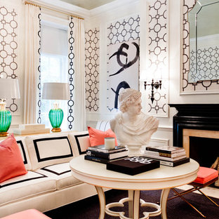 Living room - eclectic living room idea in New York with pink walls and a standard fireplace