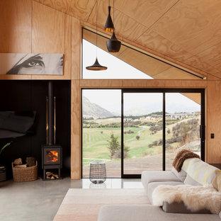 Modelo de salón abierto, nórdico, pequeño, con suelo de cemento y estufa de leña