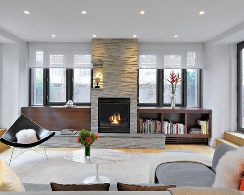Fireplace between windows houzz for Fireplace with windows on each side