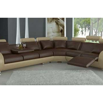 Tone Leather Sectional Sofas with Recliner