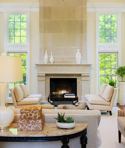 Transitional Living Room by Barnes Vanze Architects, Inc