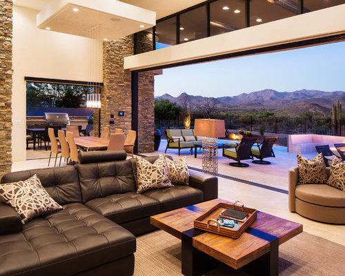 Trendy Open Concept Beige Floor Living Room Photo In Phoenix Part 76