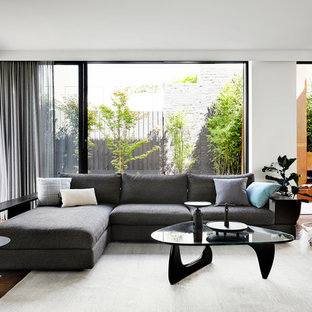 Photo of a contemporary open concept living room in Melbourne with white walls and dark hardwood floors.