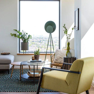 Photo of a medium sized scandi living room in Other with white walls, medium hardwood flooring and brown floors.