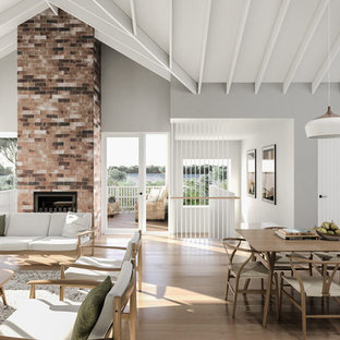 Photo Of A Mid Sized Beach Style Open Concept Living Room In Newcastle    Maitland