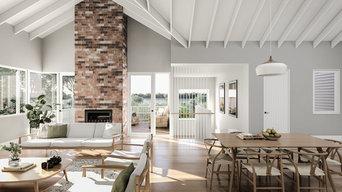 Toronto House - living room with view to lake