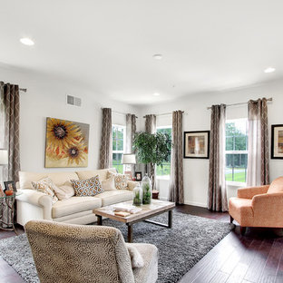 Inspiration for a mid-sized transitional formal and open concept dark wood floor living room remodel in Philadelphia with white walls, no fireplace and no tv
