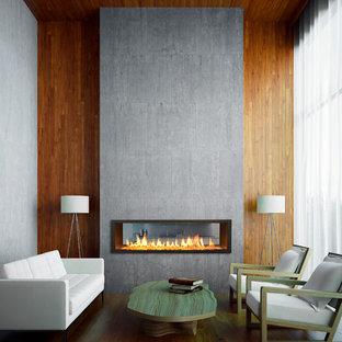 Cette photo montre un petit salon tendance avec une cheminée double-face et aucun téléviseur.