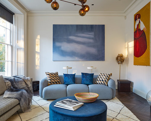 This Is An Example Of A Contemporary Living Room In London With White Walls  And Dark