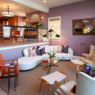 Foto di un soggiorno contemporaneo di medie dimensioni con pareti viola, pavimento in gres porcellanato, camino classico e cornice del camino in pietra
