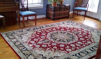 Traditional Burgundy & Black Tabriz Oriental Rug in Bucks County Home