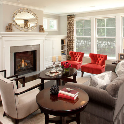 Elegant living room photo in Minneapolis with gray walls