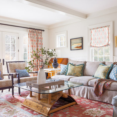 Living room - mid-sized traditional living room idea in Boston with white walls