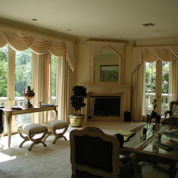 Traditional Elegant Living Room - Client's home. Chose these fabrics and designed her own living room and furniture pieces