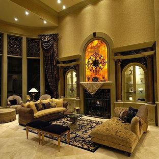 オマハの巨大なトラディショナルスタイルのおしゃれなLDK (フォーマル、ベージュの壁、トラバーチンの床、標準型暖炉、石材の暖炉まわり) の写真