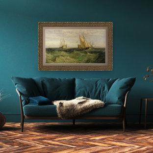 ボストンの中サイズのトラディショナルスタイルのおしゃれなLDK (フォーマル、濃色無垢フローリング、内蔵型テレビ、茶色い床) の写真