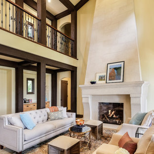 Traditional Great Room With Exposed Beams