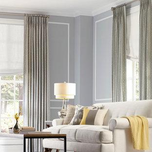 Mid-sized elegant enclosed dark wood floor living room photo in Nashville with gray walls