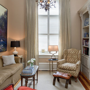 Example of a small classic living room design in Toronto with beige walls