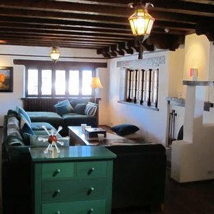 アルバカーキの中サイズのサンタフェスタイルのおしゃれな独立型リビング (白い壁、濃色無垢フローリング、標準型暖炉、漆喰の暖炉まわり、フォーマル、テレビなし、茶色い床) の写真