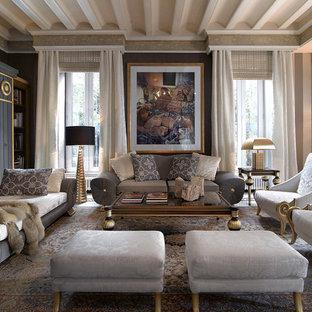 Idee per un grande soggiorno tradizionale con pareti nere, nessun camino e nessuna TV