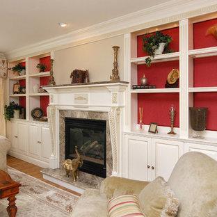 Ispirazione per un soggiorno classico con sala formale, camino classico e cornice del camino in pietra