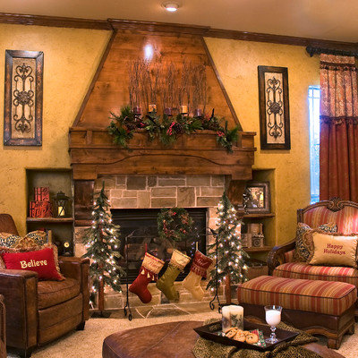 Inspiration for a timeless living room remodel in DC Metro with a stone fireplace