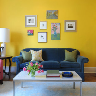Yellow Living Room with Gallery Wall