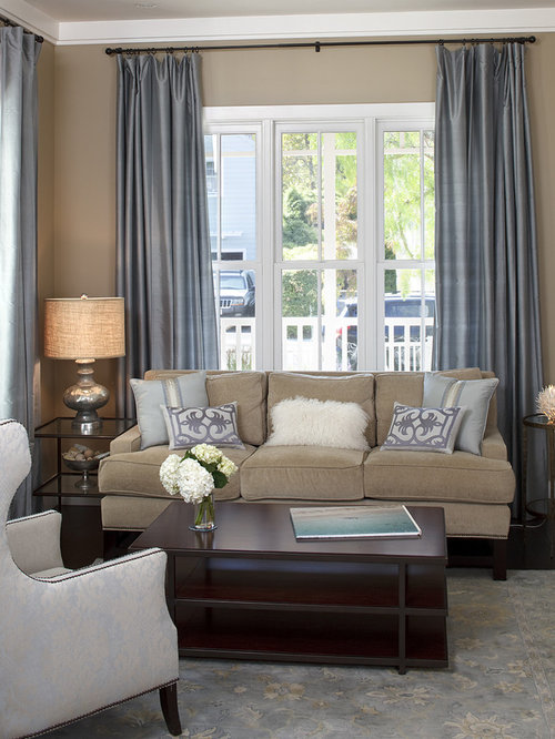 Cream Color Curtains With Brown Fringe Living Room Design Ideas ...