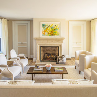 Large elegant formal beige floor living room photo in Boston with beige walls, a standard fireplace and a stone fireplace